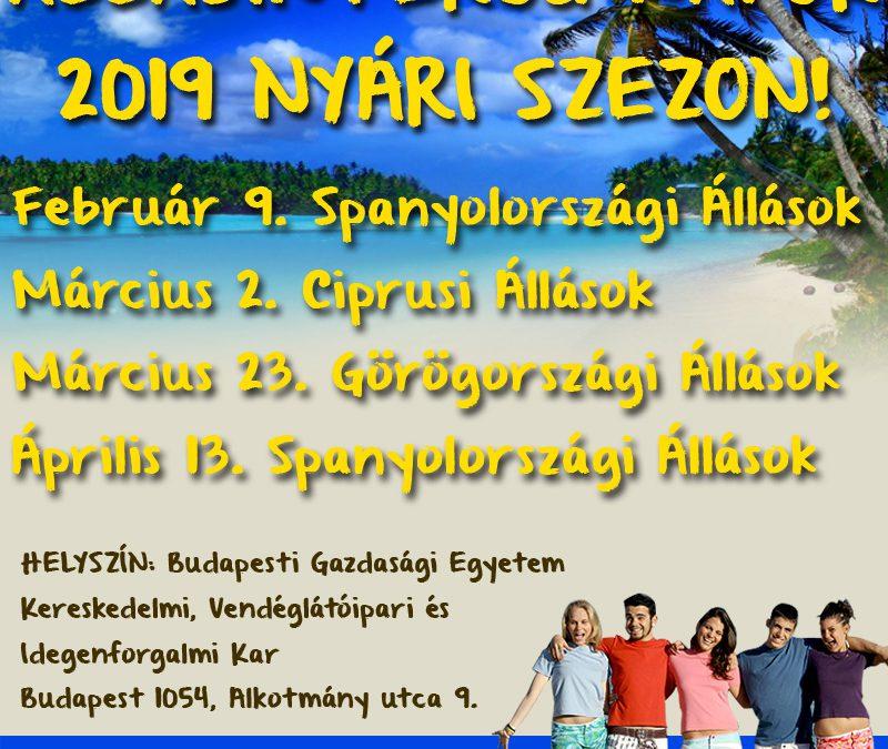 2019 NYÁRI SZEZON ÁLLÁSINTERJÚ NAPOK!