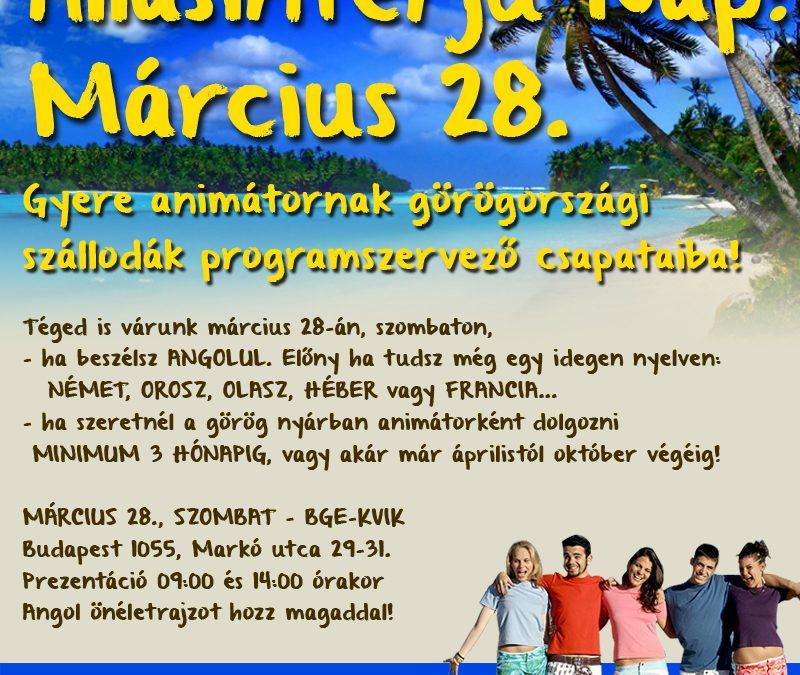 Görög ÁLLÁSINTERJÚ NAP március 28-án ELMARAD!